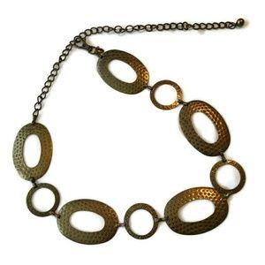 """Metal Chain Belt Drop Waist OS 28-43"""" Gold Disc"""